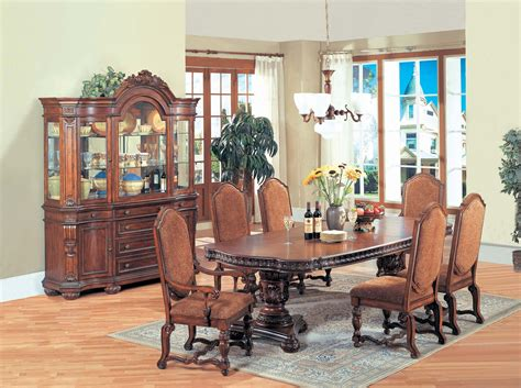 dining room furniture san antonio traditional wood double pedestal table set  brown finish