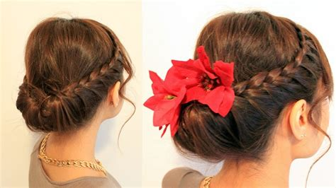 holiday braided updo tutorial medium hairstyle for long hair holiday braided updo hairstyle for medium long hair
