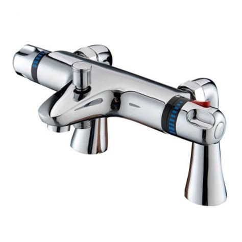 bath mixer shower tap new chrome deck mounted thermostatic bath shower mixer tap