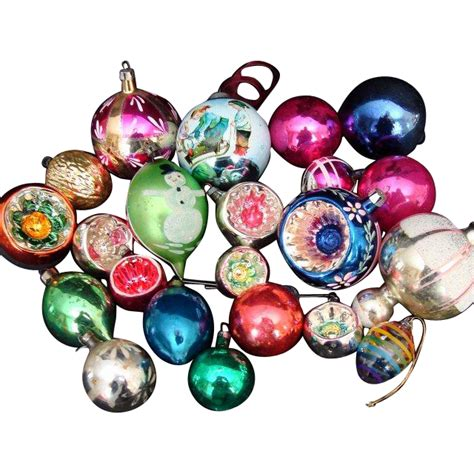 22 assorted vintage traditional glass christmas tree