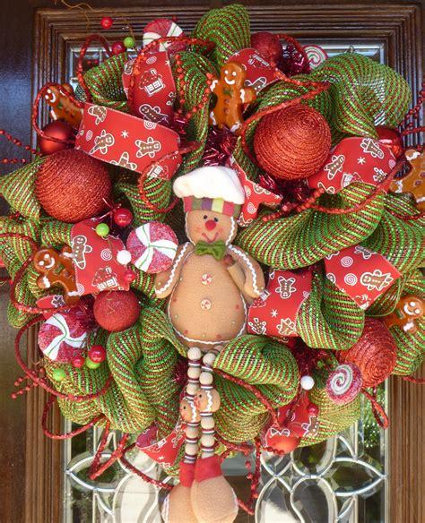 gingerbread man christmas wreath by decoglitz on etsy