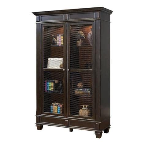 martin furniture hartford wire mesh bookcase  black