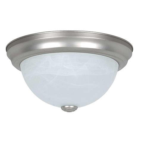 Sea Gull Lighting Clip Ceiling Flush Mount 2 Light Brushed Home Depot Flush Ceiling Lights