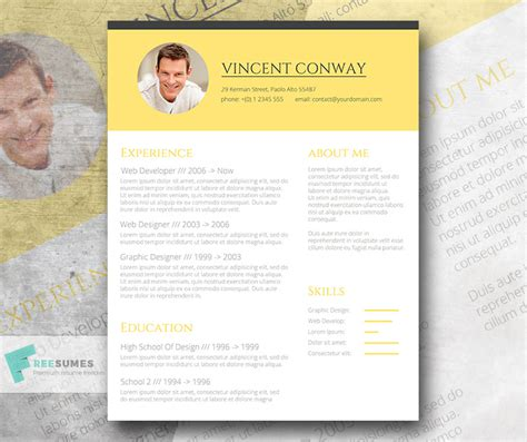 Trendy Resume Templates Free by Subtle Yellow The Trendy Resume Template Giveaway