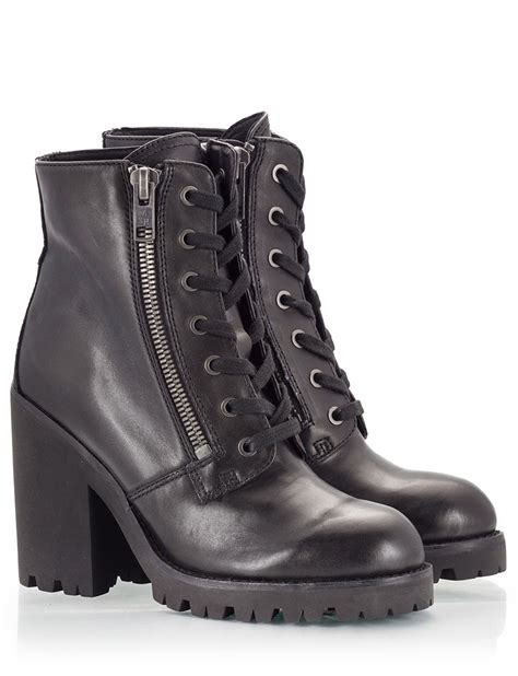 combat high heel boots ash black vitello leather high block heel combat