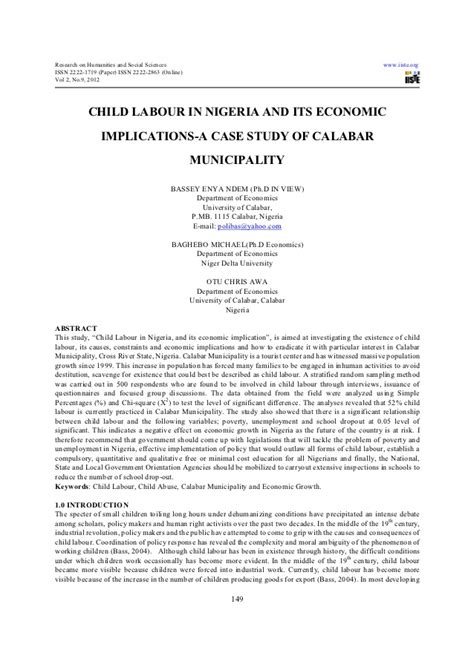 research paper on child labour child labour in nigeria and its economic implications a