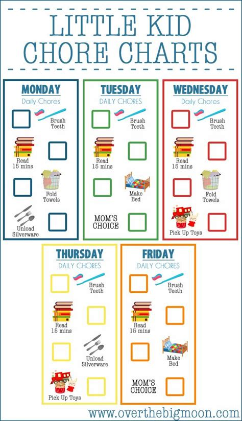 Chore Card Template by Chore Charts For Printable Chore Chart