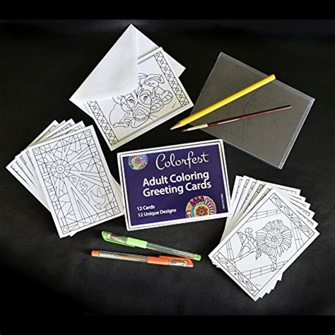 card kits for adults coloring greeting cards by colorfest boxed set of 12