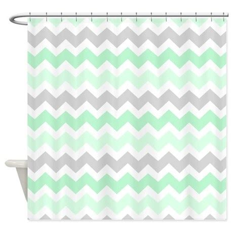 chevron grey shower curtain mint grey white chevron stripes shower curtain by