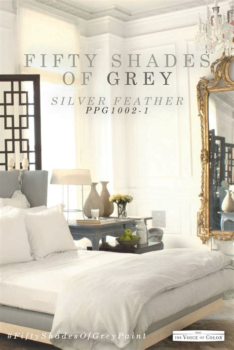 grey bedroom color scheme featuring silver feather paint color by ppg voice of color explore