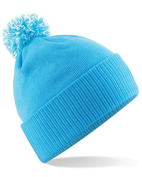 B450 White beechfield b450 beanie with pom pom accessories