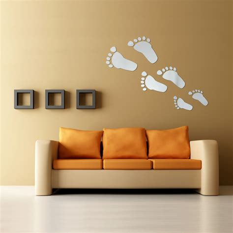 home decor wall stickers 6pcs diy footprint acrylic wall sticker footprints