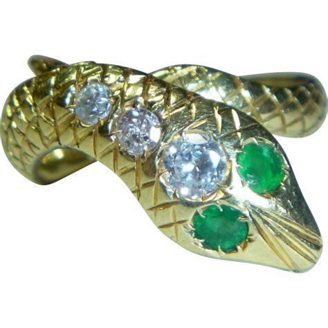 snake ring emerald 18k mid century from