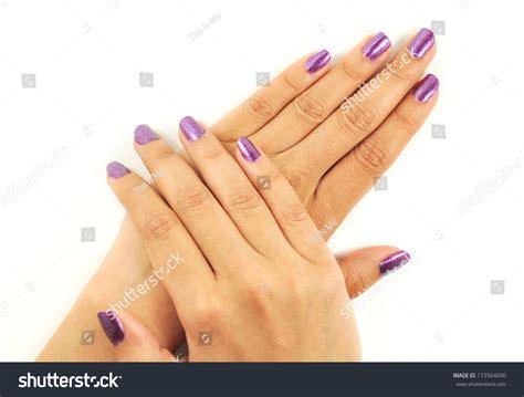 manicure nail paint purple color stock photo 173564090