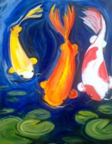 Koi Water Color 18 Warna three koi http www paintnite paintnite koi canvas fish paint paint