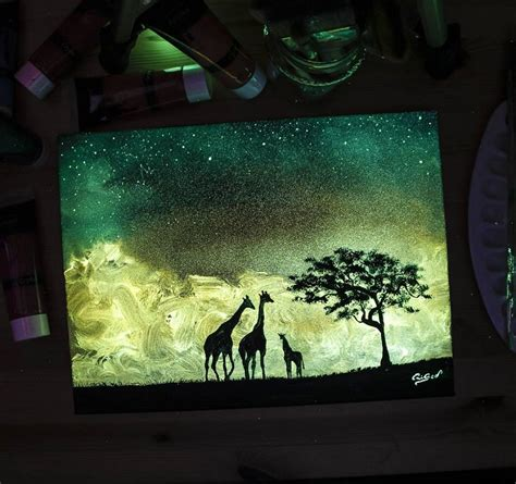 glow in the painting etsy dazzling paintings of animals and landscapes made with