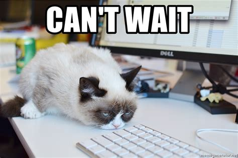 Can T Wait Meme - can t wait grumpy cat at work meme generator