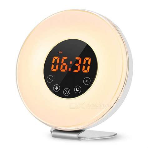 led digital alarm clock sunrise wake  light simulation bedside lamp night light snoozesunset