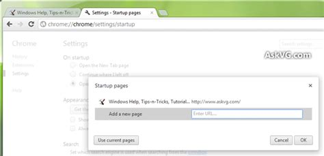 how to change homepage settings in chrome askvg