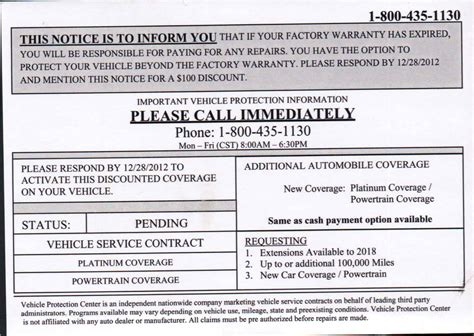 dont  fooled   vehicle extended warranty mailer