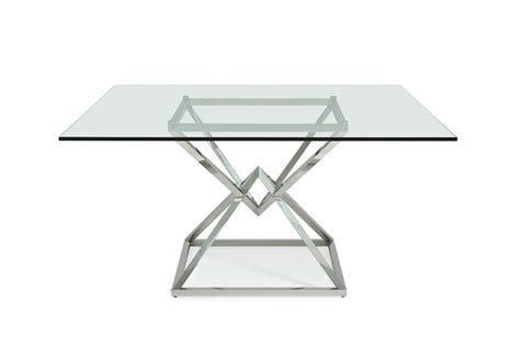 Square Glass Dining Table by Modrest Xander Modern Square Glass Dining Table