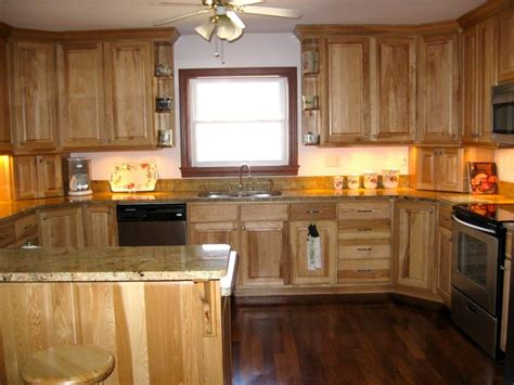 kitchen colors with hickory cabinets hickory cabinets darker floor kitchen