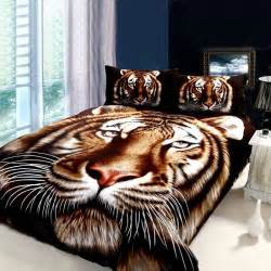 Tiger Bed Set Black Brown And White Animal Themed Tiger Print Jungle Tales Size Bedroom Bedding Sets