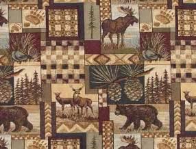 rustic lodge fabric wildlife moose deer