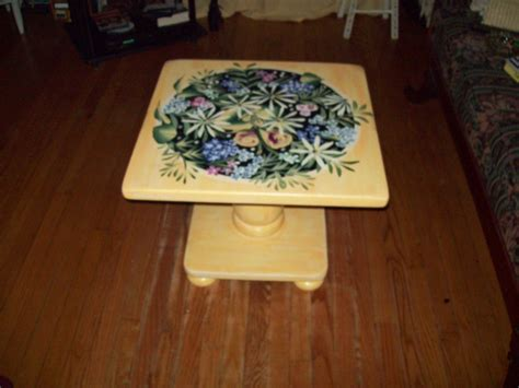 Handmade Decorative - crafted coffee table painted yellow with flowers