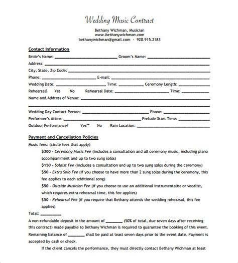 musicians contract template 15 contract templates sle templates
