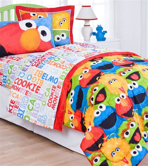 elmo bedding sesame street chalk twin bed sheet set 3pc elmo big bird