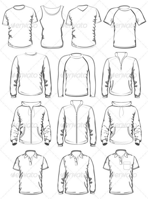 Collection Of Men Clothes Outline Templates Graphicriver Collection Of Men Clothes Outline Drawing Template For