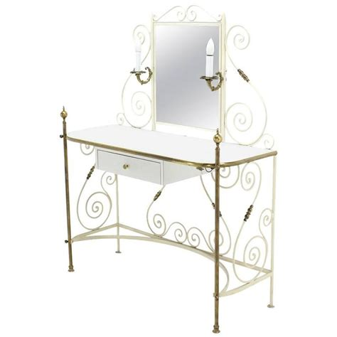 Glass Vanity Table Decorative Vanity Dressing Table Milk Glass Top Metal Scrolls Brass Hardware For Sale At 1stdibs
