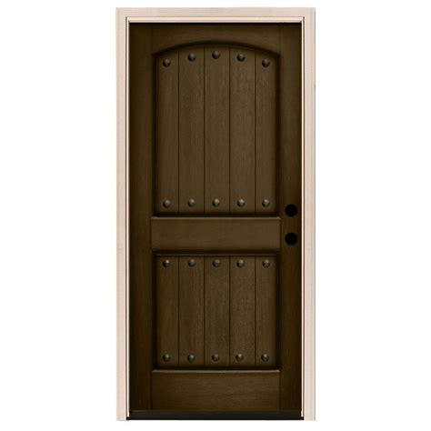 32 X 80 Exterior Door Steves Sons 32 In X 80 In Rustic 2 Panel Plank Stained Mahogany Wood Prehung Front Door