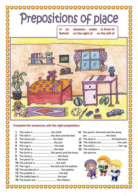 esl printable worksheets prepositions of place preposition of place popflyboys