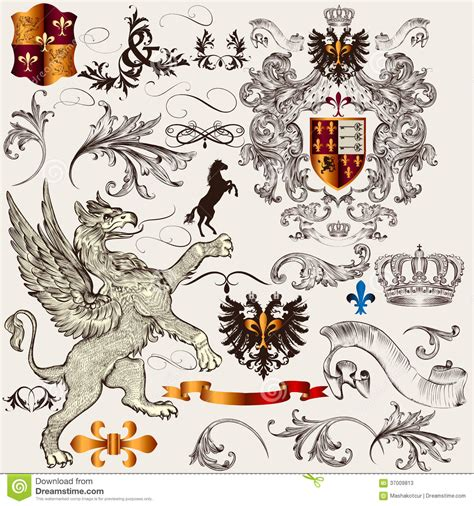 heraldic design elements vector set of heraldic design elements with shield crown