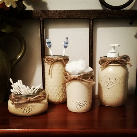 rustic bathroom set rustic home decor mason jar bathroom set by therusticthorn
