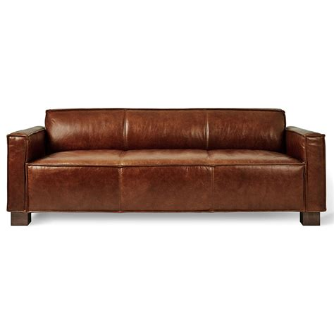 Gus Cabot Modern Saddle Brown Leather Sofa Eurway Leather Upholstery Sofa