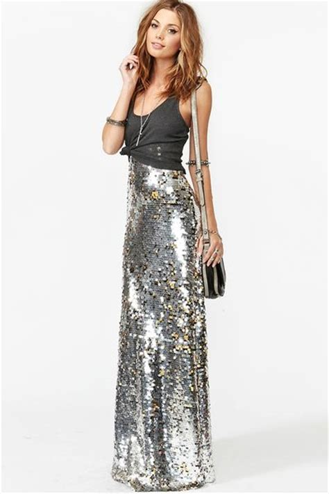 gal sequin maxi skirt in silver lyst