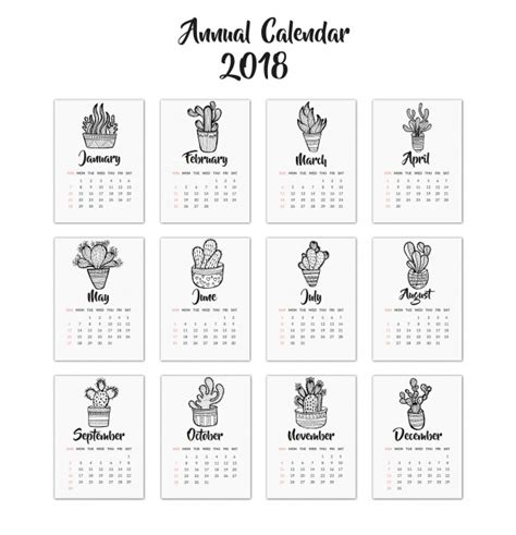 layout kalender 2018 kalender 2018 mit kaktus design download der premium vektor