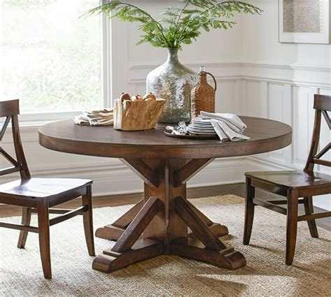 pottery barn dining tables benchwright fixed pedestal dining table pottery barn