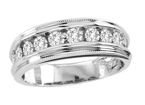 mens white gold diamond wedding band ebay