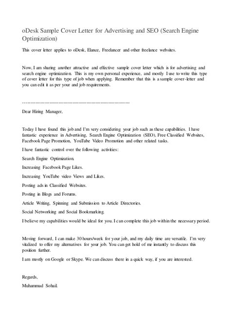 cover letter odesk odesk sle cover letter for advertising and seo