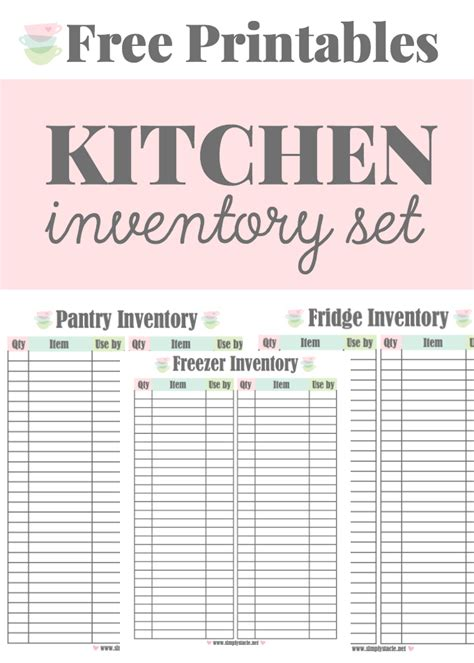 Home Pantry Inventory by Kitchen Inventory Printables Simply Stacie
