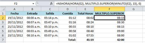 barra superior excel c 243 mo redondear horas en excel excel total