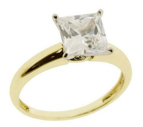 diamonique 2 00 ct solitaire square princess ring 14k