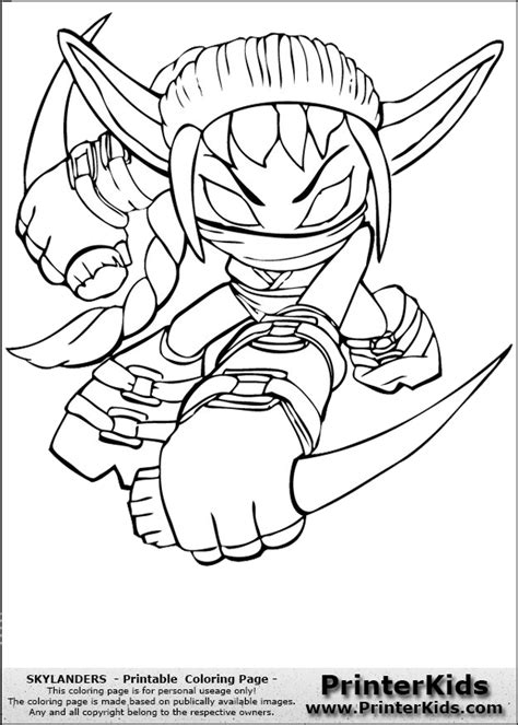 coloring pages of stealth elf skylanders coloring sheets stealth elf page preview