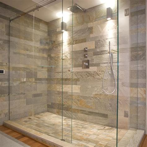 natural stone tile bathroom natural stone wall and glass shower enclosure general