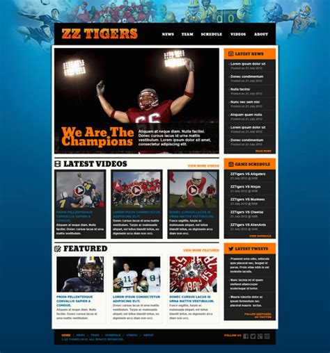 templates for football website ready football website template free website templates