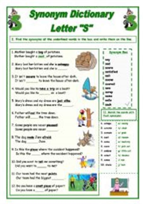 Letter Synonym Teaching Worksheets Synonyms